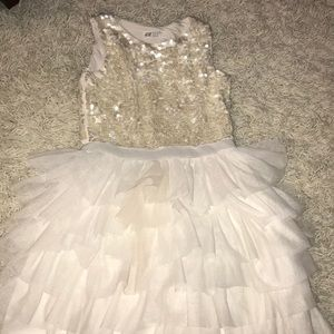 White dress with sequins and tulle